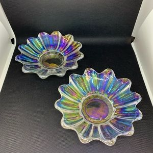 2 Vintage Carnival Glass Iridescent Dish Flower